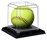 SOFTBALL ACRYLIC DISPLAY CASE - BEVELED EDGES - BLACK BASE