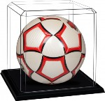 SOCCER BALL FUTBOL ACRYLIC DISPLAY CASE - BLACK MOLDED BASE