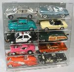 1/18 SCALE DIECAST 10 CAR SLANT ACRYLIC DISPLAY CASE - 10 FREE NAME PLATES