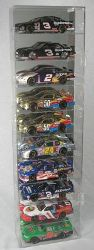 1/24 SCALE 10 CAR TALL DIECAST DISPLAY CASE - 10 FREE NAME PLATES