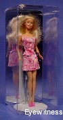 DOLL ACRYLIC DISPLAY CASE FOR 1 BARBIE SIZE DOLL ON A STAND