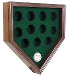 WALL MOUNT 12 BASEBALL HOME PLATE SHAPE WOOD DISPLAY CASE