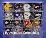 MINI HELMET ACRYLIC DISPLAY CASE FOR 16 HELMETS - 16 FREE PLATES