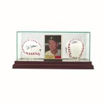 2 BASEBALL & SINGLE TRADING CARD GLASS DISPLAY CASE