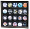 20 Hockey Puck Display Case Cabinet w/ UV acrylic door 20 FREE PLATES