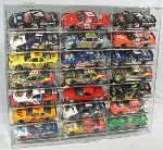 1/24 SCALE 21 CAR DIECAST SLANT ACRYLIC DISPLAY CASE - 21 FREE NAME PLATES