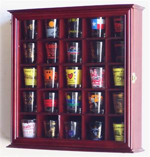 SHOT GLASS CABINETS, SHOT GLASS CASES, SHOT GLASS DISPLAYS BY FINE.