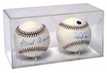 BASEBALL DOUBLE ACRYLIC DISPLAY CASE - BUILT IN STAND