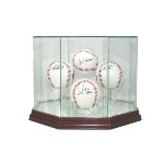 HOCKEY PUCK REAL GLASS DISPLAY CASE FOR 4 PUCKS