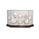 HOCKEY PUCK REAL GLASS DISPLAY CASE FOR 8 PUCKS