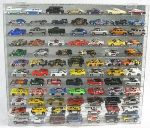 1/64 SCALE DIECAST ACRYLIC DISPLAY CASE - 84 MATCHBOX - HOT WHEELS CARS