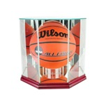 ETCHED GLASS BASKETBALL DISPLAY CASE - OCTAGON - DESKTOP