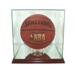 BASKETBALL SOCCER BALL GLASS DISPLAY CASE - SQUARED - DESKTOP