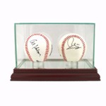 BASEBALL REAL GLASS DISPLAY CASE FOR 2 BALLS - DESKTOP