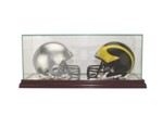 ETCHED GLASS DOUBLE 2 MINI FOOTBALL HELMET DISPLAY CASE - DESKTOP