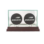 ETCHED GLASS DOUBLE 2 HOCKEY PUCK DISPLAY CASE - DESKTOP
