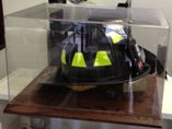 FIREFIGHTER - RESCUE HELMET ACRYLIC DISPLAY CASE -  SOLID OAK BASE