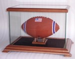 SINGLE FOOTBALL GLASS DISPLAY CASE WITH WOOD FRAME
