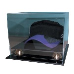 CAP - HAT ACRYLIC DISPLAY CASE - GOLD RISERS - NHL LOGO
