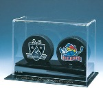 DOUBLE HOCKEY PUCK ACRYLIC DISPLAY CASE WITH NHL LOGO