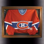 COMPACT JERSEY DISPLAY CASE WITH WOOD FRAME AND NHL LOGO