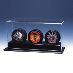 TRIPLE HOCKEY PUCK ACRYLIC DISPLAY CASE - NHL LOGO