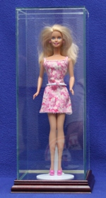 BARBIE DOLL SIZE GLASS DISPLAY CASE WITH WOOD BASE