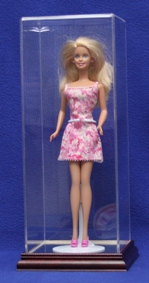 BARBIE DOLL SIZE ACRYLIC DISPLAY CASE WITH WOOD BASE