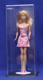 BARBIE DOLL SIZE ACRYLIC DISPLAY CASE WITH BLACK BASE