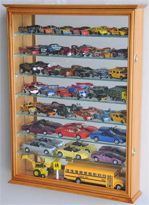 Lg Mirror Back Hot Wheels   Matchbox Diecast Train Display Case Cabinet