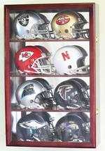MINI HELMET ACRYLIC DISPLAY CASE WOOD CABINET - 8 FREE NAMEPLATES