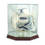 ETCHED GLASS SOCCER BALL DISPLAY CASE - OCTAGON - DESKTOP