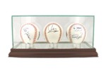 ETCHED GLASS TRIPLE 3 BASEBALL DISPLAY CASE - DESKTOP