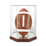 ETCHED GLASS FOOTBALL DISPLAY CASE - OCTAGON - VERTICAL - DESKTOP