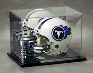 MINI HELMET ACRYLIC DISPLAY CASE - BLACK BASE - MIRROR BACK