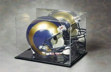 FOOTBALL HELMET FULL SIZE ACRYLIC DISPLAY CASE WITH BLACK BASE