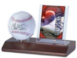 BASEBALL & CARD ACRYLIC DISPLAY CASE FOR 1 BALL  AND 1 TRADING CARD