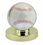 SINGLE BASEBALL ACRYLIC DISPLAY CASE GOLD BASE