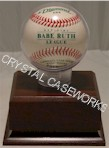 BASEBALL ACRYLIC DISPLAY CASE GLOBE - CHERRY FINISH WOOD PLATFORM BASE