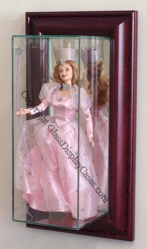 Wall Mount Glass Display Case For Barbie Size Doll Wood