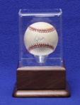 BASEBALL ACRYLIC DISPLAY CASE - SOLID WALNUT PLATFORM BASE