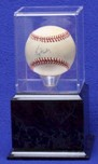 BASEBALL ACRYLIC DISPLAY CASE -  TALL WOOD PLATFORM BASE