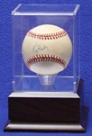 BASEBALL ACRYLIC DISPLAY CASE - CHERRY FINISH PLATFORM WOOD BASE
