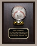 BASEBALL WALL MOUNT ACRYLIC DISPLAY CASE - WOOD PLAQUE