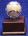 BASEBALL ACRYLIC DISPLAY CASE - ROUND HOLDER - WALNUT PLATFORM BASE