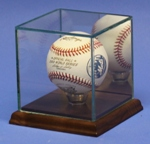 SINGLE BASEBALL GLASS DISPLAY CASE - SOLID WALNUT BASE