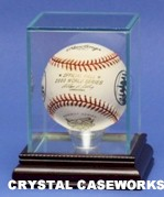 ETCHED GLASS  SINGLE BASEBALL DISPLAY CASE � DESKTOP