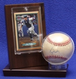 BASEBALL ACRYLIC DISPLAY CASE FOR 1 BALL  & 1 TRADING CARD