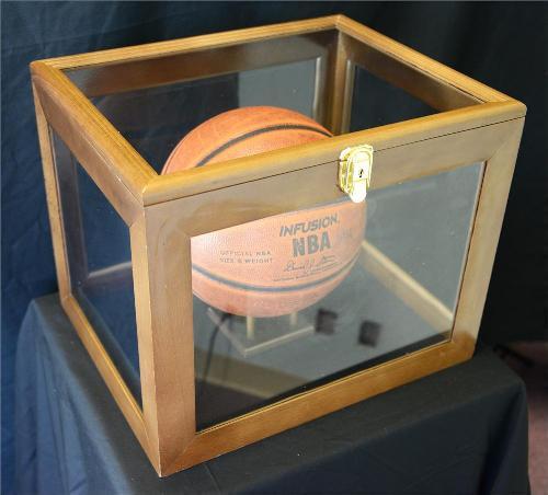 basketball desktop acrylic display case wood frame - Basketball Display Case
