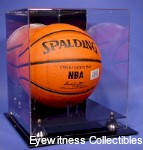 BASKETBALL ACRYLIC DISPLAY CASE WITH GOLD RISERS